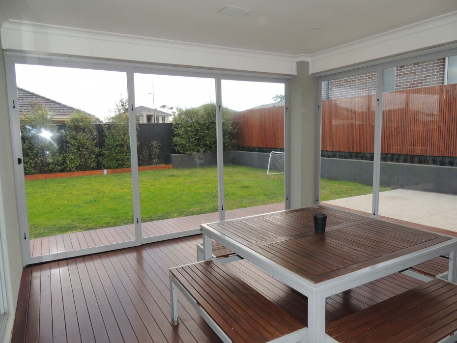 PVC screens fitted to modern home alfresco area