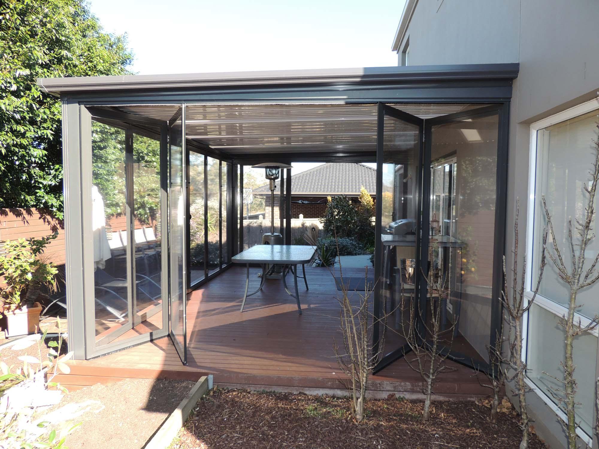 Bi fold Doors | Optiscreen | PVC Outdoor Screens Tinted or clear UV 92%